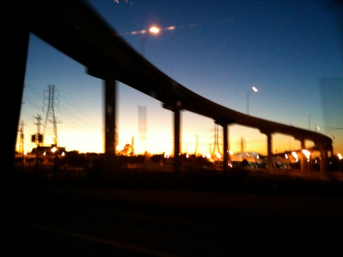 Houston Freeway at Sunset