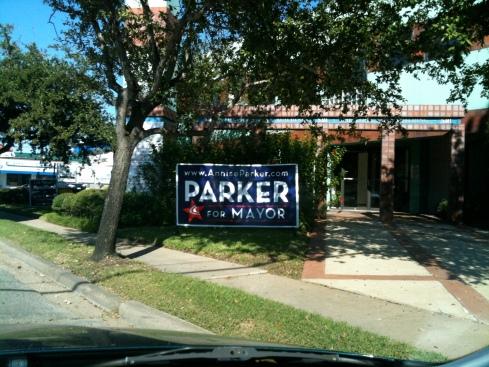 Annise Parker campaign sign