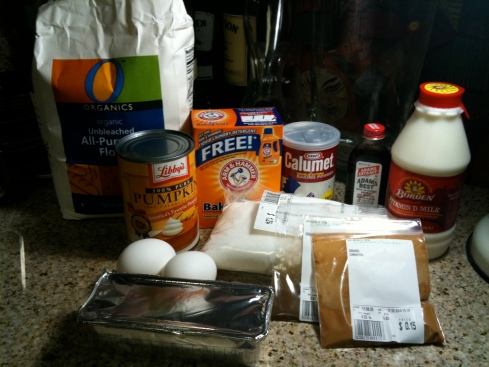 Pumpkin Bread ingredients